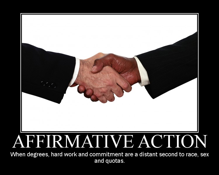 the misguided side of affirmative action Affirmative action positive or corrective effort by employers to prevent discrimination in hiring or promotion is attested from 1935 with regard to labor unions specific racial sense is from 1961 now often used more generally in reference to hiring quotas, etc.