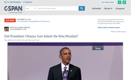 Did Obama Just Say He's A Muslim (Again)? Even C-SPAN Wonders