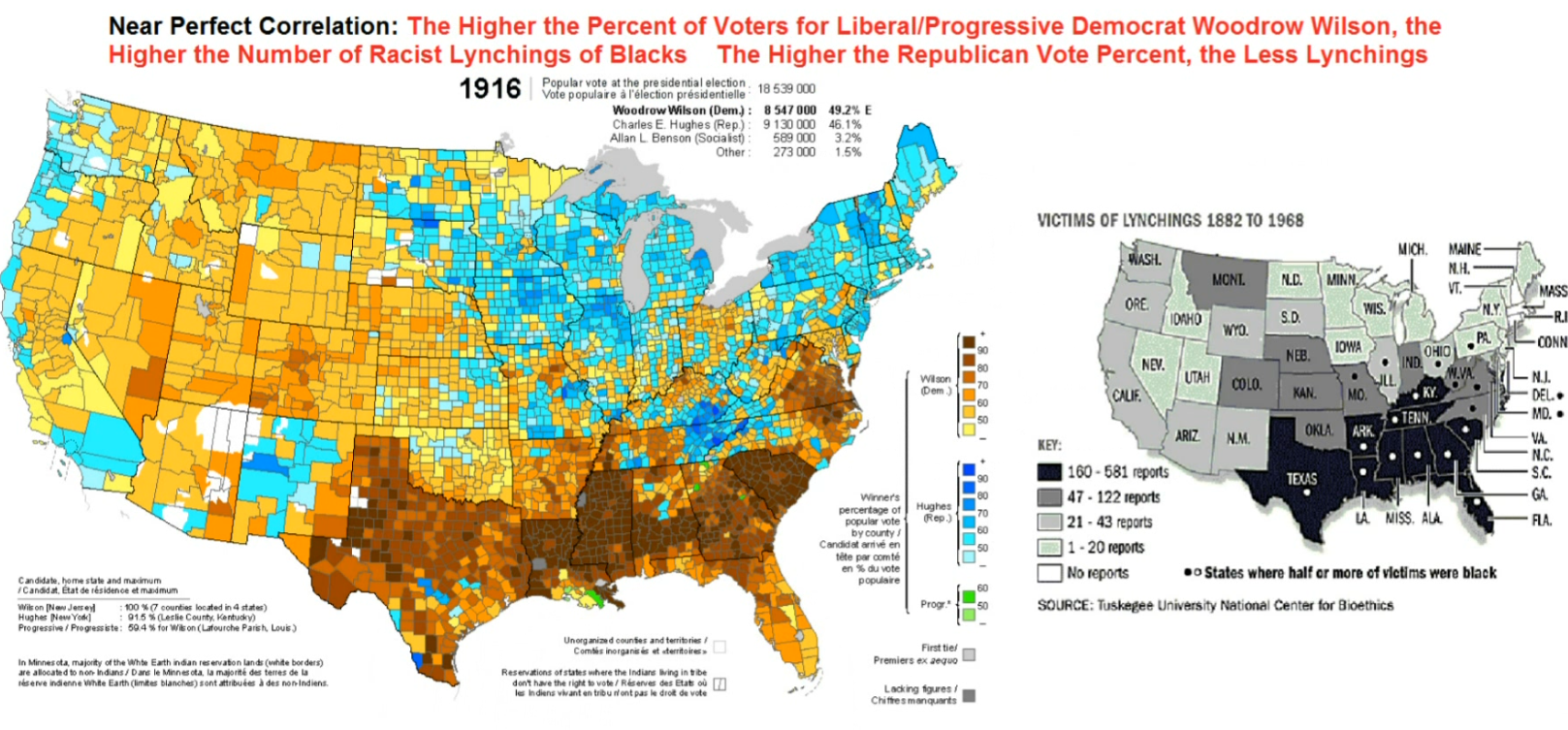 1916DemocratWilsonMapCountyWithLynchingDensityCorrelation