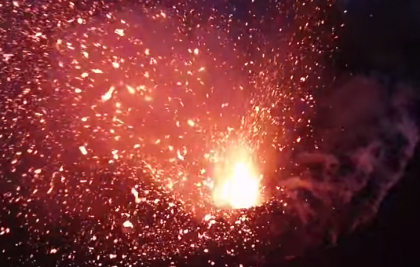 Experience Volcanic Eruption From Within The Cone, Drone Video